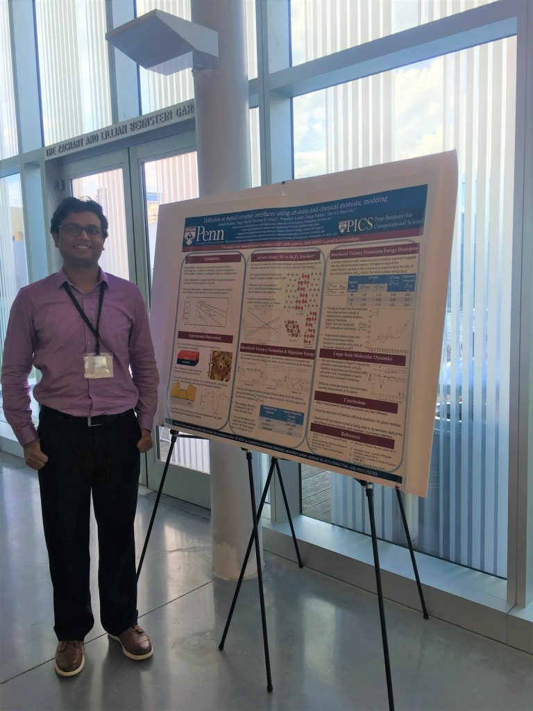 Aakash Kumar, Post Doctoral Researcher Diffusion at metal/ceramic interfaces using ab-initio and classical atomistic modeling